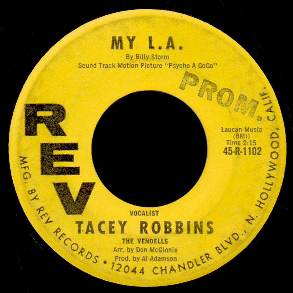 "Tacey Robbins & the Vendells, Rev 45-R-1102 ""My L.A."""