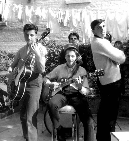 Jerry Scotti, Freddie DeRubeis, Joe Liotta and George Napolitano in Freddie's backyard, 1964