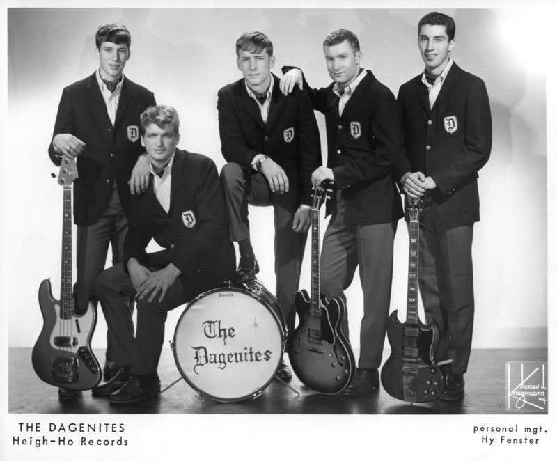 The Dagenites, late 1965, Heigh-Ho Records photo: Julian Bardi, Jimmy Musgrove, Roger Fallin, Jon Rowzie and John Bardi