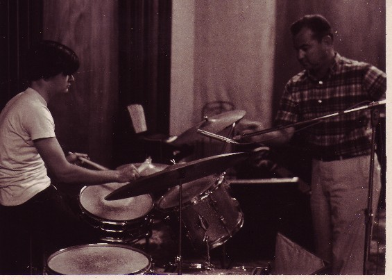 "The Invaders' Don Goodson on the drums, at the ""She's A Tiger"" session"