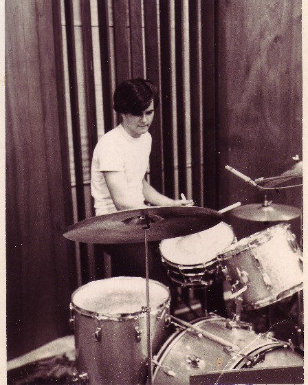 "Don Goodson on the drums, at the ""She's A Tiger"" session"