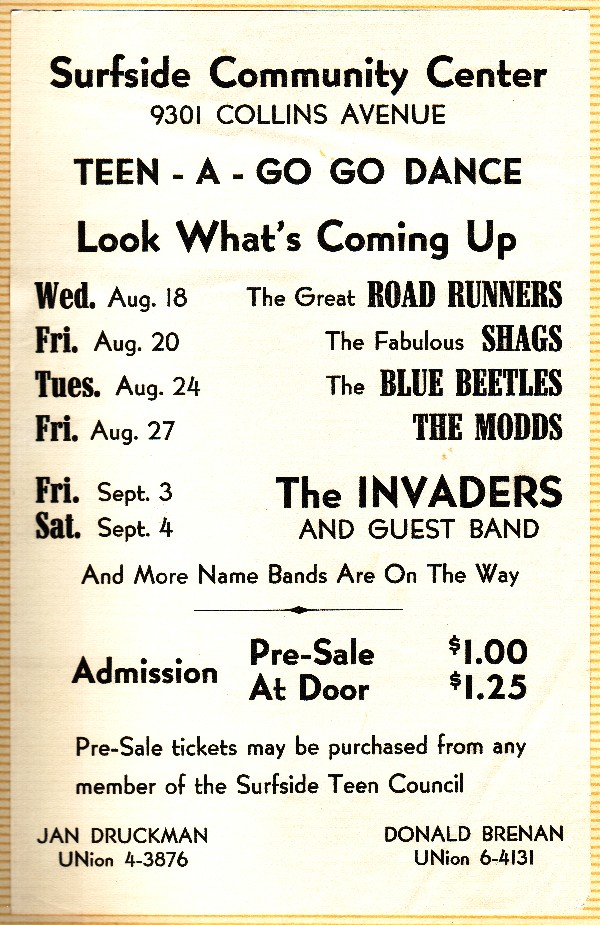 Surfside Community Center Tene Dance with the Road Runners, the Shaggs, the Blue Beatles, the Modds and the Invaders