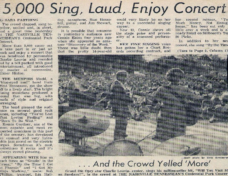 """Charlie Louvin and me on stage. That was quite a concert! I was really surprised by all the stars that showed up watch us."""