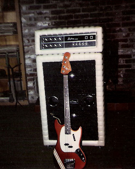 Jean's Kustom amp with Fender Mustang bass, 1973