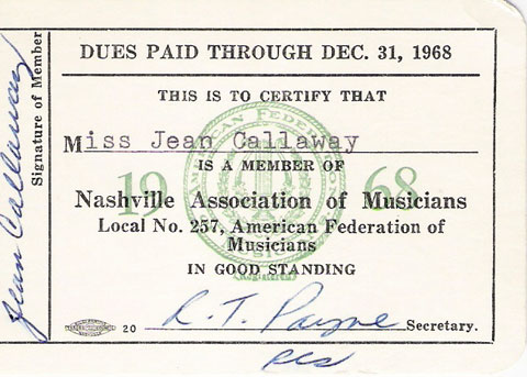 Jean Callaway Nashville Association of Musicians Local no. 257, 1968
