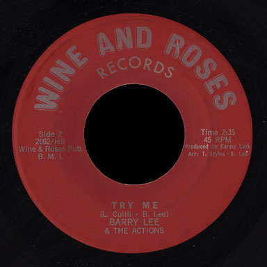 Barry Lee & the Actions Wine and Roses 45 Try Me