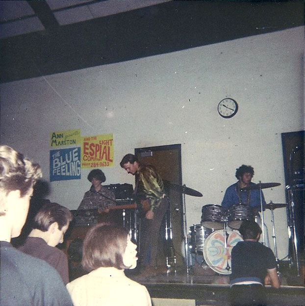 The Blue Feeling, formerly known as the Satellites. Notice the Ann Marston Presents and Espial Light Company posters on wall