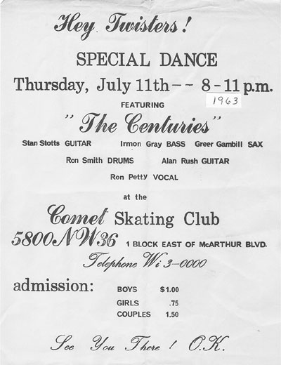Ad for appearance at the Comet Skating Club, July 11, 1963.