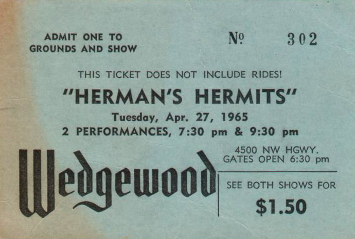 Herman's Hermits ticket at the Wedgewood
