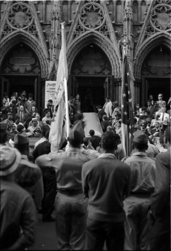 Bud Powell's funeral procession, August 1966 at the Church of St. Charles Borromeo on W. 141 St. in Harlem