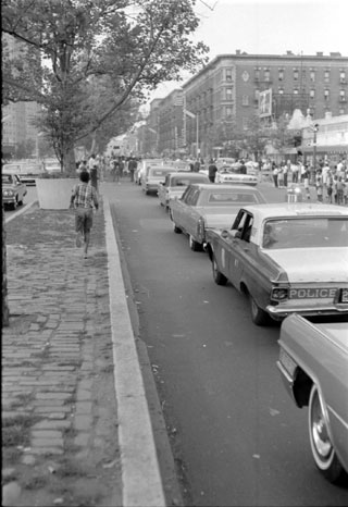 Bud Powell's funeral procession at 7th Ave and 139th St August 8, 1966