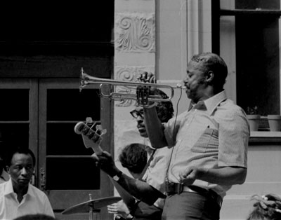 Jimmy Nottingham on trumpet in Harlem, late 1960's