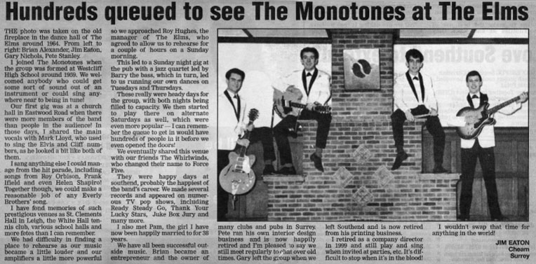 Monotones at The Elms, l-r: Brian Alexander, Jim Eaton, Gary Nichols and Pete Stanley