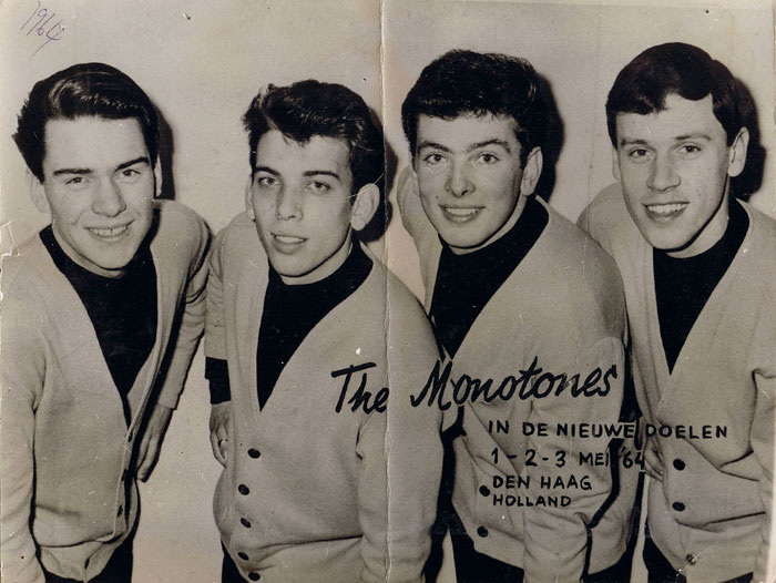 The Monotones in Holland, 1964: Brian Alexander, Gary Nichols, Jim Eaton and Pete Stanley