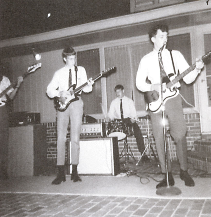 The Noblemen, 1965 from left: Jim Anderson (partially visible) on bass, Frank Wright, Landis Dibble, Randy Rahberg