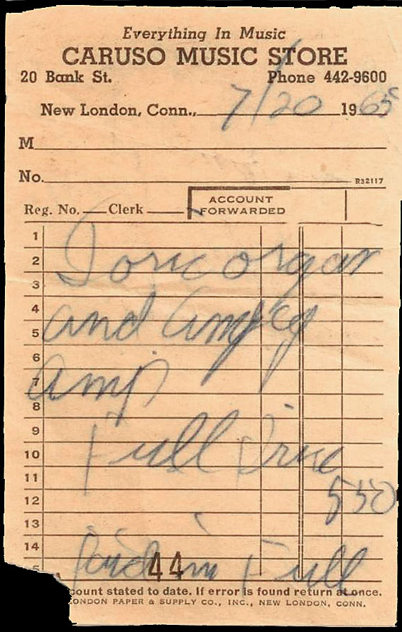 Receipt for John's Doric organ