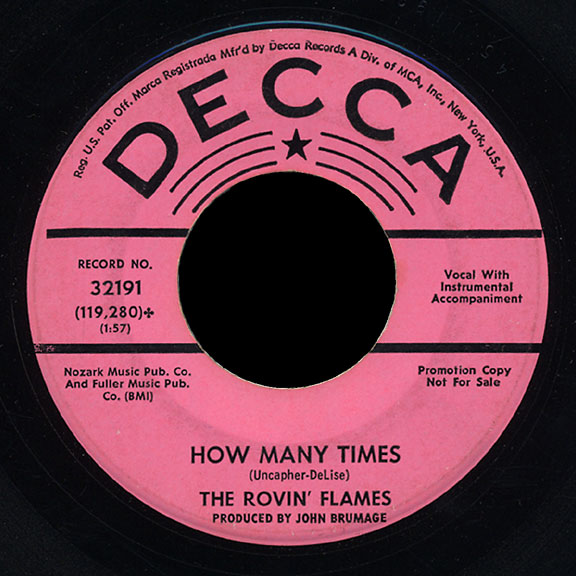 Rovin' Flames Decca 45 How Many Times