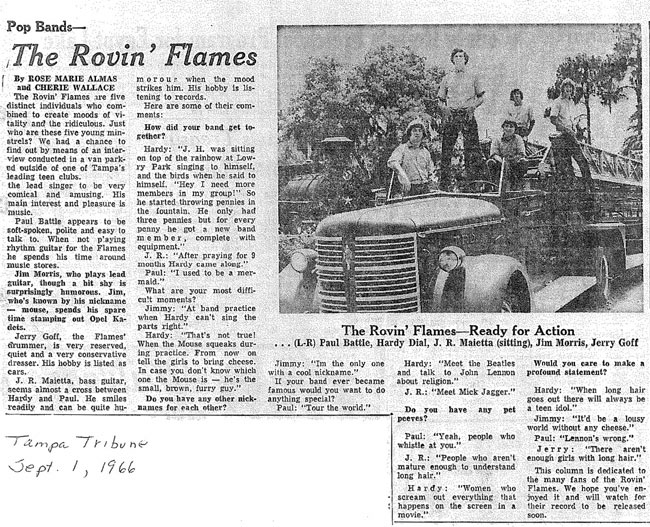 Rovin Flames lineup with original band plus Hardy Dial