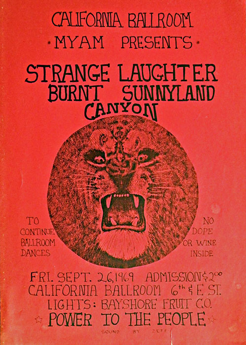 Strange Laughter, Burnt Sunnyland Canyon at the California Ballroom, September 26, 1969, lights by Bayshore Fruit Co.