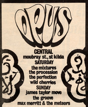 Opus band lineup James Taylor Moove Wild Cherries Procession