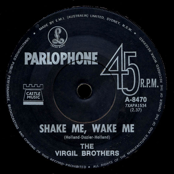 The Virgil Brothers with Mal McGee Parlophone 45 Shake Me, Wake Me
