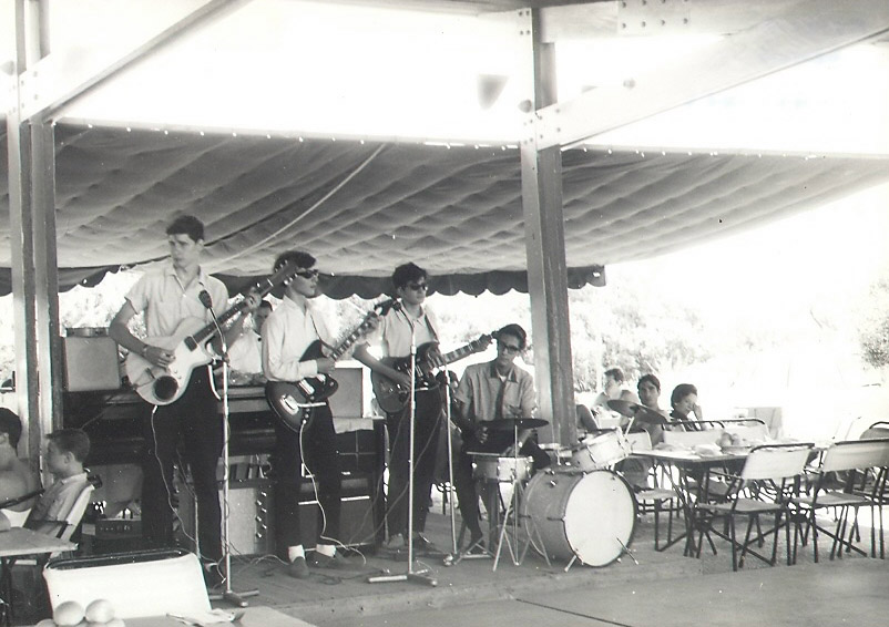 The Auroras (later Zoo) at Asteria Beach, June 1965 -- l to r: Jim Motz (bass), Paul Velletri (rhythm guitar), George Alexander (lead guitar), Johnny Carr (drums).