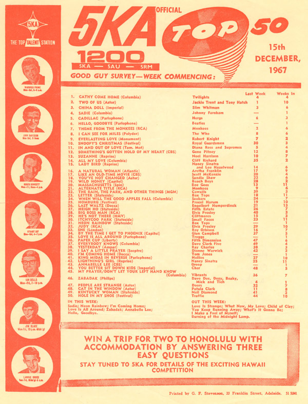 Hergs at #5 on 5KA's Top 50, Dec. 15, 1967