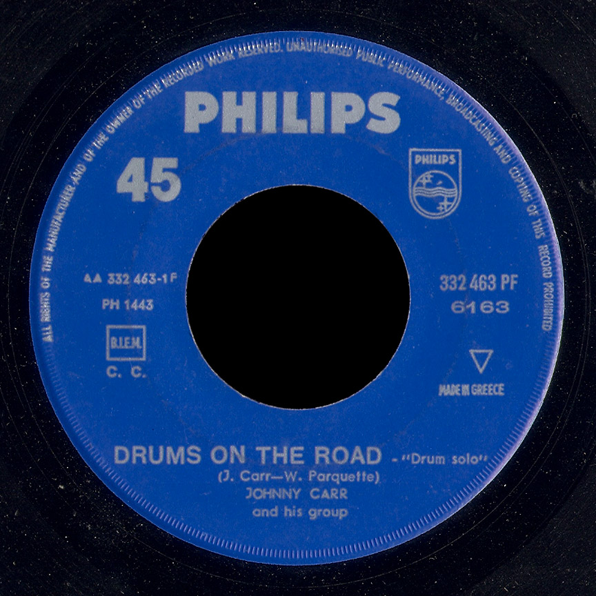 Johnny Carr and His Group Philips 45 Drums on the Road