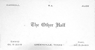 The Other Half Greenville Texas business card