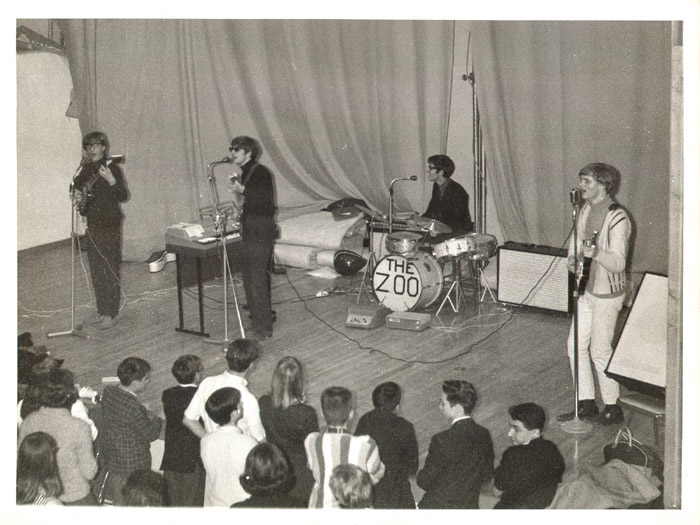 The Zoo at a school gig, spring 1966. From left to right: Paul Velletri, George Alexander, Johnny Carr and Nick Jameson