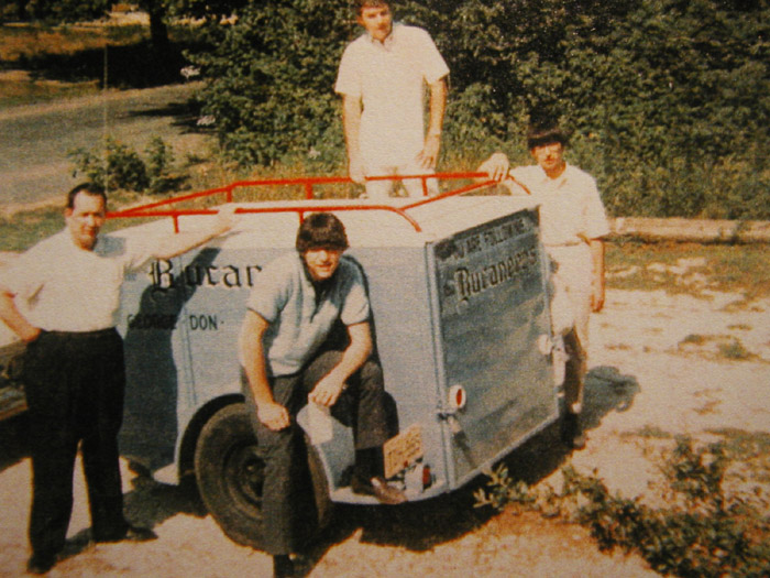 Bucaneers on tour, from left: Ken LaComb (road manager), Don Bevers, Ron Krause and George Falcone.