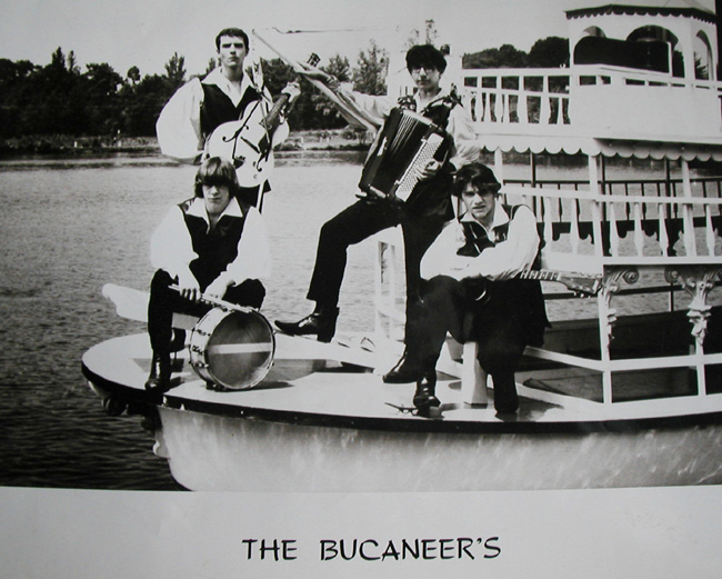Bucaneers promotional photo, standing: Ron Krause and George Falcone; sitting: Ken Loftis and Don Bevers