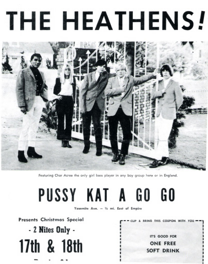 Heathens ad for Pussy Kat a Go Go