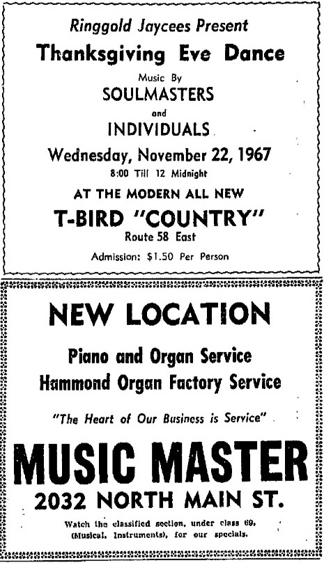Inviduals show with the Soulmasters at the T-Bird Country, Danville Register, November 19, 1967