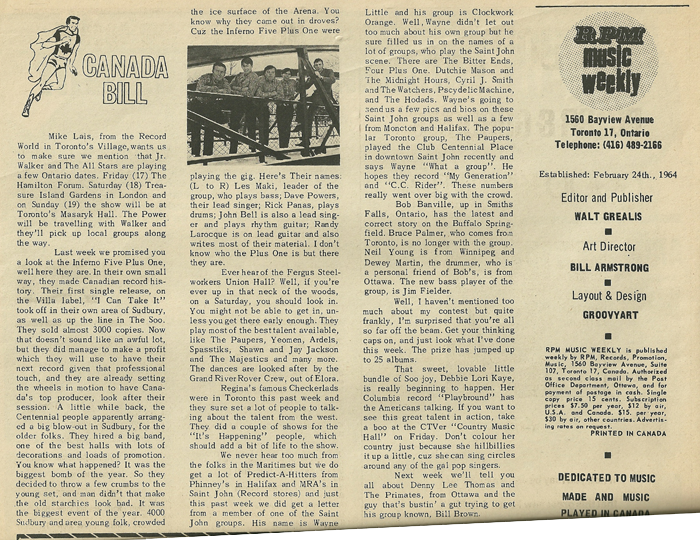 After Lance Whitman had left the band, RPM Weekly, March 18, 1967