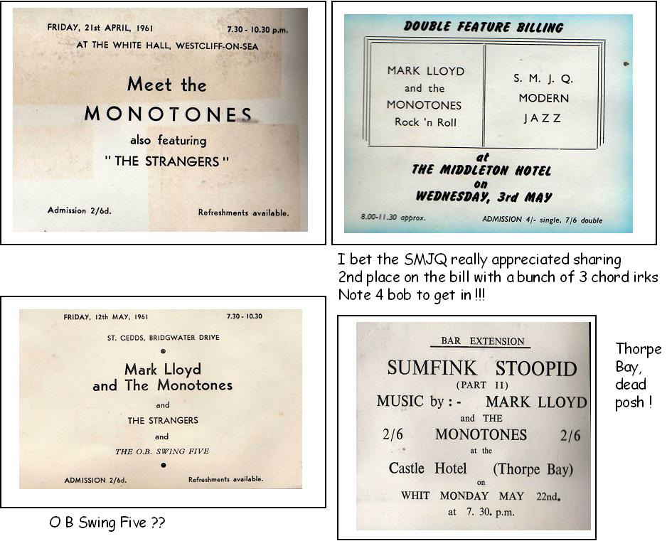 Monotones early gig notices, Middleton Hotel, St. Cedds, Castle Hotel Thorpe Bay