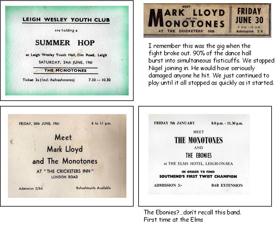 Mark Lloyd and the Monotones early gig cards, Leigh Wesley Youth Club, Cricketers Inn, Elms Hotel