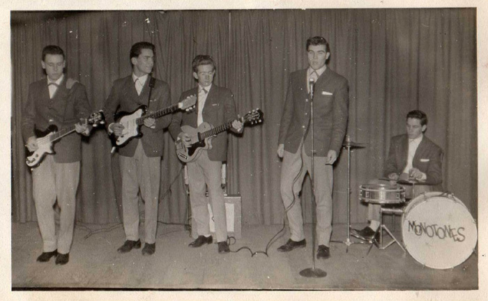 Earliest photo of the Monotones at St Cedds Church gig early in 1960 From left: Pete Stanley, Brian Alexander, Ian Middlemiss, Nigel Basham, and Barry Davis