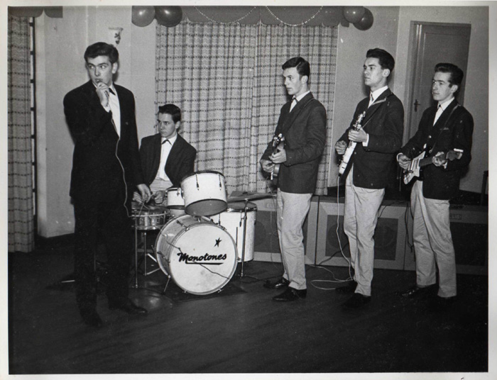 April 1962, from left: Jim Eaton, Barry Davis, Paul Dunning, Brian Alexander and Ian Middlemiss. Stanley got fed up and had a six month sabbatical. He did come back eventually.