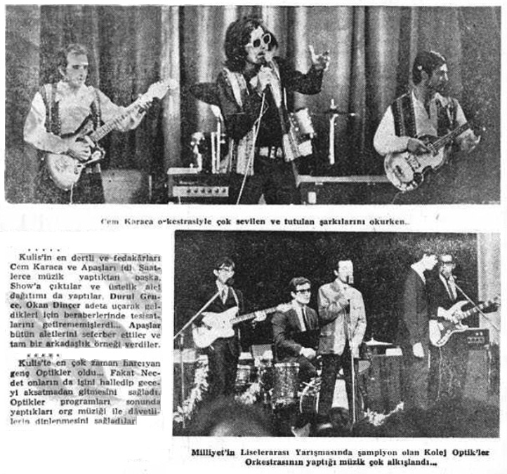 Cem Karaca, Apaslar and Optikler in Milliyet, October 23, 1967