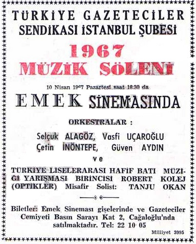 Optikler with Selcuk Alagoz and Vasfi Ucaroglu Milliyet, April 5, 1967