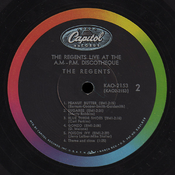 Regents Capitol LP Live at the A.M.-P.M. Discotheque side 2