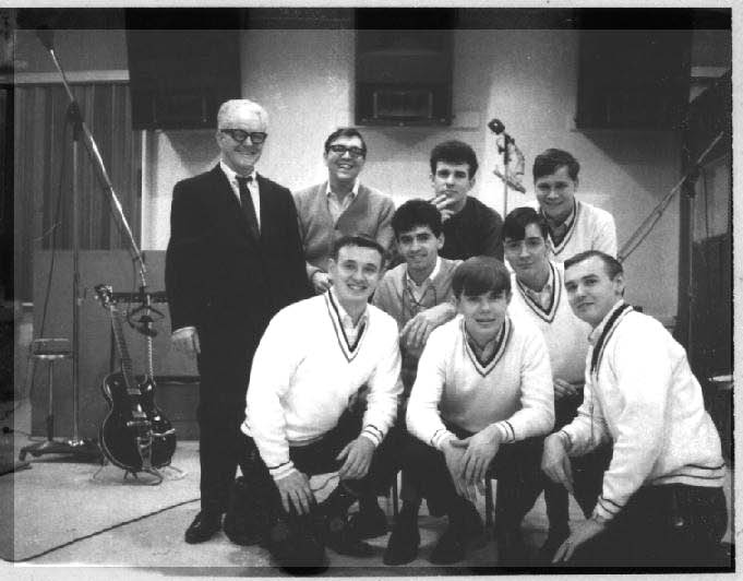 The Scholars with vocal trio the Perennials, plus manager Nat Segal at Cameo Parkway Studio, Philadelphia, January 28, 1967