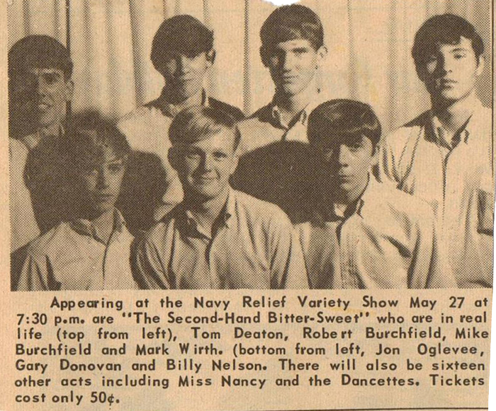 Second-Hand Bitter-Sweet news clipping: Tom Deaton, Robert Burchfield, Mike Burchfield, Mark Wirth, Jon Oglevee, Gary Donovan and Billy Nelson