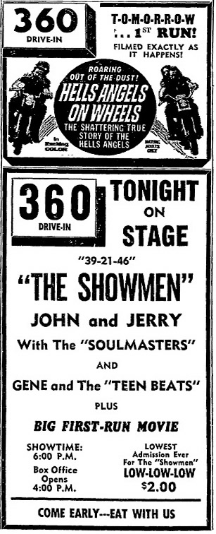 John and Jerry & the Soulmasters, at the 360 Drive-In with Gene and the Teen-Beats Danville Register, July 19, 1967
