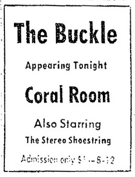 with the Buckle at the Coral Room, Corpus Christi Times, January 12, 1968