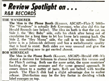 Bob Kornegay 45 on Herald reviewed in Billboard, March 9, 1957