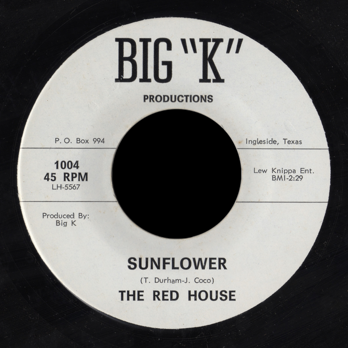 "Red House Big ""K"" 45 Sunflower"