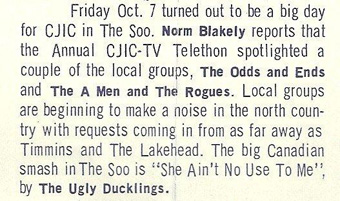 CJIC-TV Telethon notice with local Soo groups the Odds and Ends, the A Men and The Rogues.