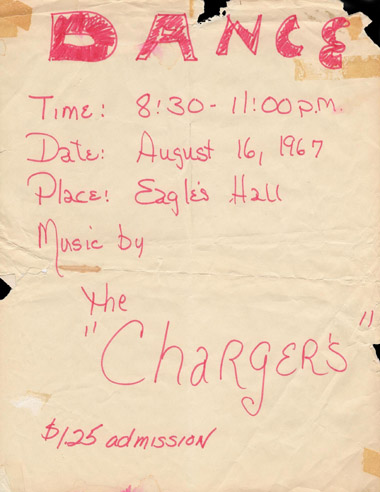 The Chargers, Eagles Hall, 1967 poster